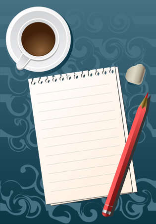 Blank sheet of paper with a pencil and a cup of coffee Stock Vector - 4787601