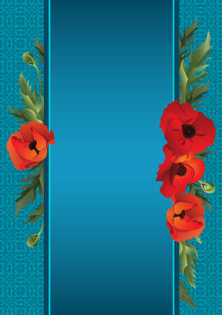 cele: A sheet of paper with ribbons and poppies on a background of blue. Vector illustration. Illustration