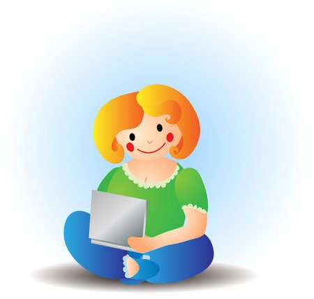 Woman with laptop. Vector illustration.