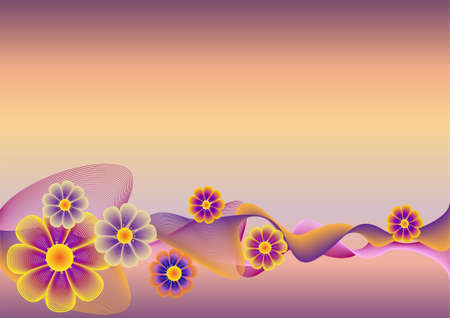 Flower background with waves. A vector illustration