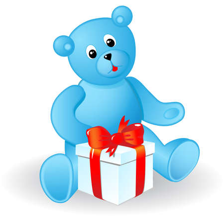 plaything: Toy bear with a gift. A vector illustration