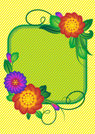 Flower background with strips and a square. A vector illustration Illustration