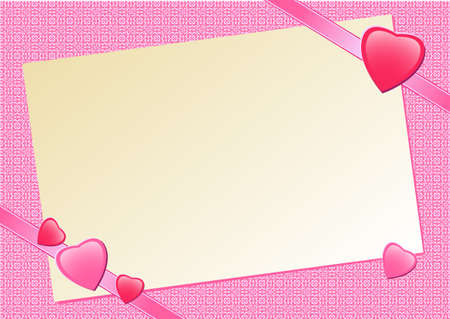 The pink background with hearts and a sheet of paper. Vector illustration. Vector