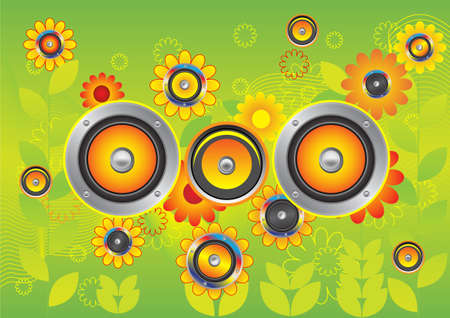 Dynamics in the middle of yellow flowers. A vector illustration. Illustration