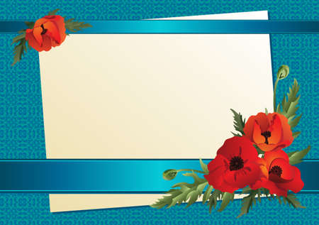 A sheet of paper with ribbons and poppies on a background of blue. Vector illustration. Illustration