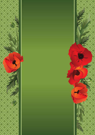 Poppies on a background of green. Vector illustration. Illustration