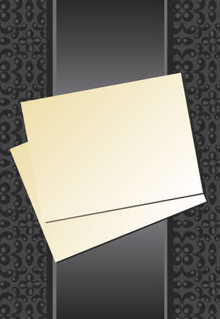 A sheet of paper with a ribbon on a background of gray. Vector illustration. Illustration