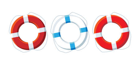 Three lifebuoys red and white. Vector illustration.