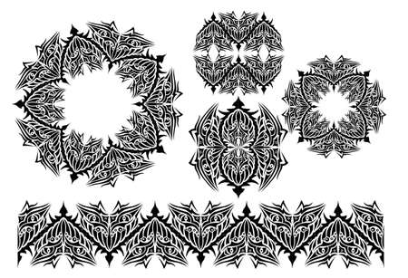 adobe: Circular pattern in the style of tattoo and vector brush for Adobe Illustrator a pattern