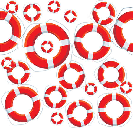 seamless texture of the lifebuoys red on a white background