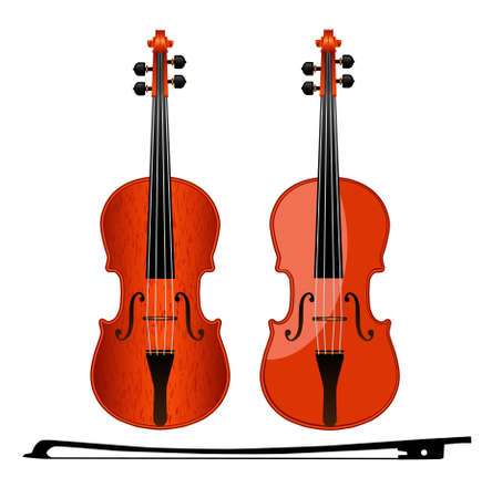 Two violin and bow isolated from the background. Vector illustration. Illustration