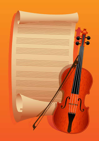violin and bow on a background paper for the notes is minimized to roll Illustration