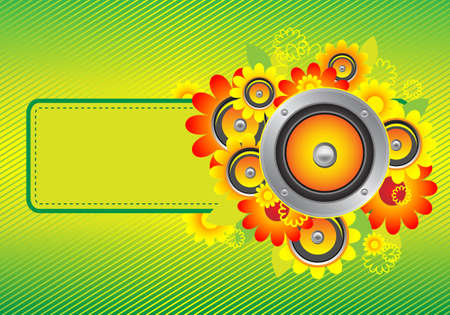 The composition of sunflowers and speakers