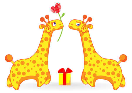 Two cartoon giraffe. One gives the other the heart of a flower and gift.