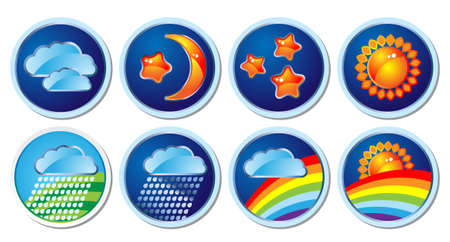 set of weather icons and the clock Stock Vector - 5147685