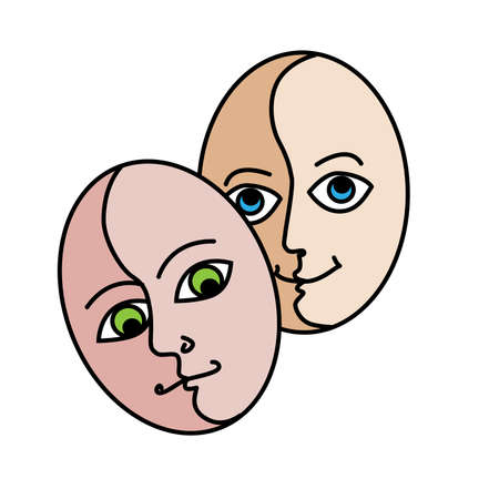 two persons, masks that express emotions Vector