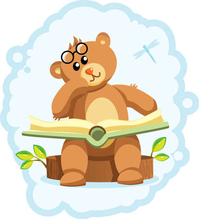 pensive Bear sits on the stump with a book