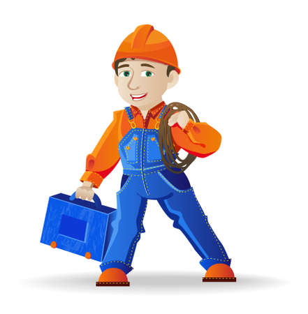 electrical safety: builder, a man in a helmet and tools, illustration