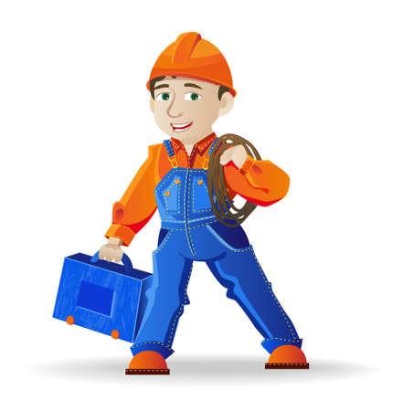 craftsmen: generatore, un uomo in un casco e strumenti, illustrazione