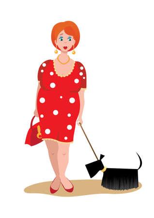 Eine dicke Frau mit einem Hund auf weißem Hintergrund