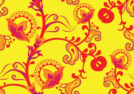 Yellow-red fall color. Fruits, flowers, leaves. Seamless texture. Vector