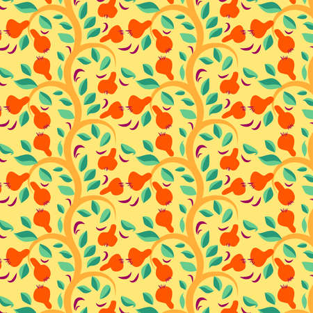 Yellow-red fall color. Seamless texture with autumn pears. Vector