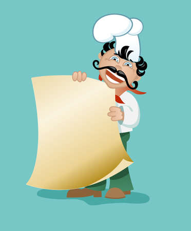 Chef with a big mustache, smiling and pointing to the empty form, which can be text (menu) Vector