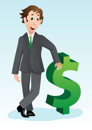Young and successful businessman cartoon with dollar sign Vector