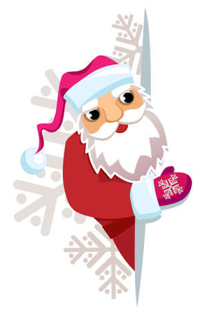 Santa Claus in the background of snowflakes shown on a blank sheet of paper on which to make an inscription Stock Vector - 8256712