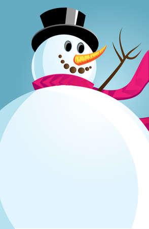 Joyful Snowman against the winter sky. illustration. Ilustração