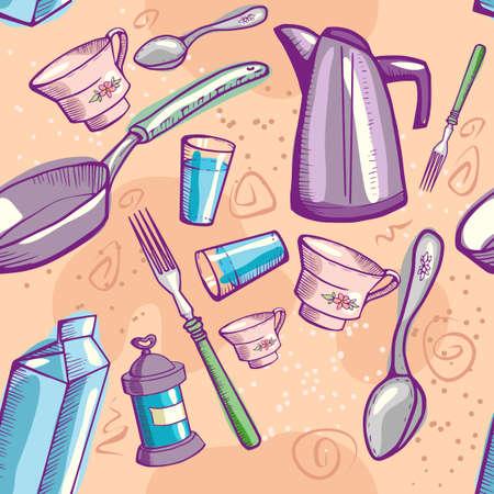 Doodle cookware Vector