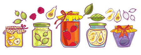 preserves: Banks jam, gooseberry, pear, raspberry, plum and apple. Icons.