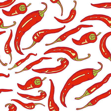 spicy chilli: Red hot chili peppers  seamless Illustration