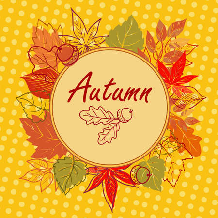 Autumn square postcard Vector