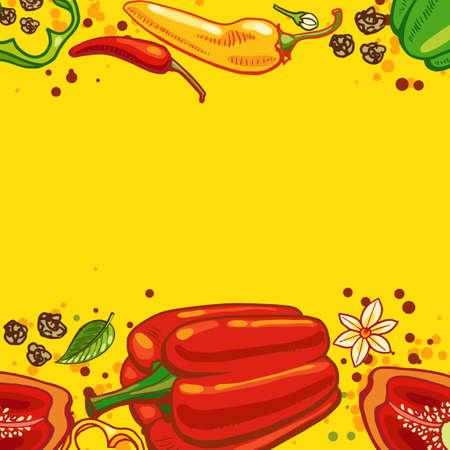 chiles picantes: Fondo amarillo con pimientos y chiles ilustraci�n