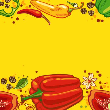 peper: Yellow background with bell peppers and hot peppers  illustration