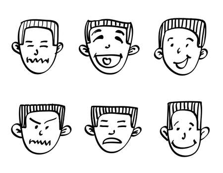 expressing negativity: head of a man with a hand-drawn emotions, doodle illustration