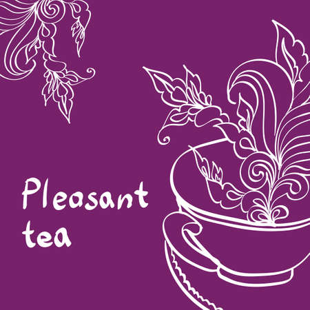 Cup of Tea with Leaf Illustration
