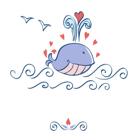Little illustrated whale with hearts card design Vector