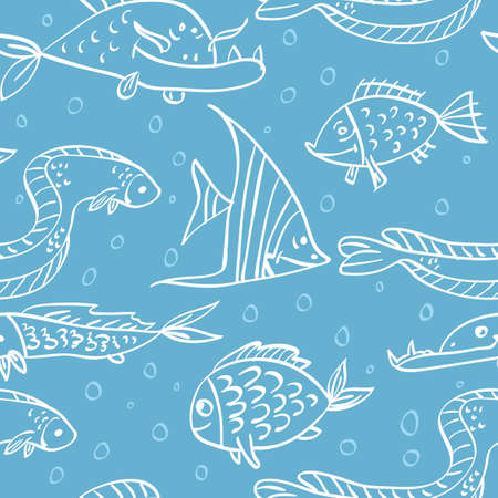 Elegance Seamless pattern with fish in the sea Vector