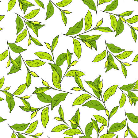 Colorful background with leaves. Seamless pattern for your design wallpapers, pattern fills, web page backgrounds, surface textures. Vector