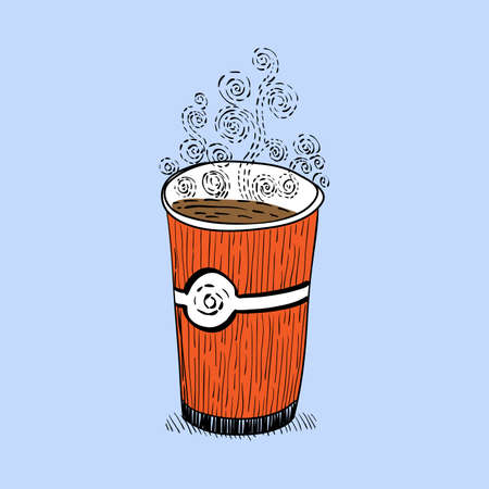 lliquid: a glass of coffee, curling steam drawn sketch vector