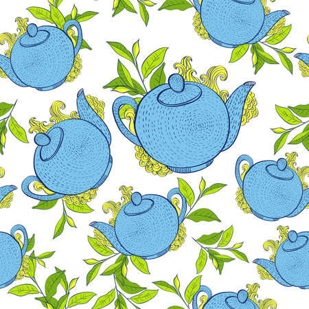 Breakfast seamless pattern with teapots. Hand drawn vector background. Vector