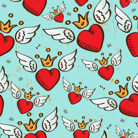 vector seamless with red hearts,  wings and crowns