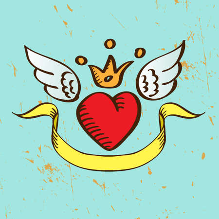 Flying Red Heart with Crown Wings and Banner Illustration Vector