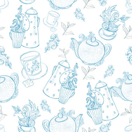 vintage tea porcelain. seamless pattern Vector