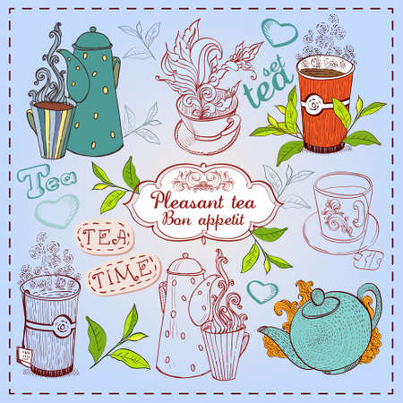 Cute hand drawn teapots, cups and leavs of tea. Vector