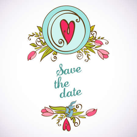 Save the date floral card. Vintage wedding invitation Vector