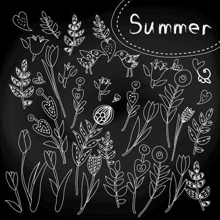 Vintage floral element set on the chalkboard Vector