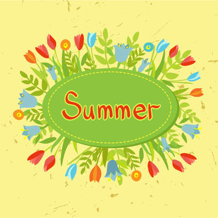 Summer label with colorful flowers Vector